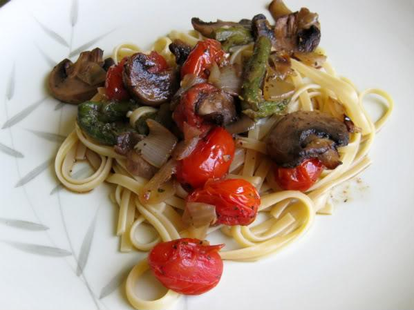 Roasted Vegetable Linguine With Torn Fresh Basil
