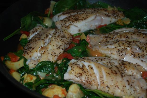 Sauteed Snapper With Plum Tomatoes and Spinach