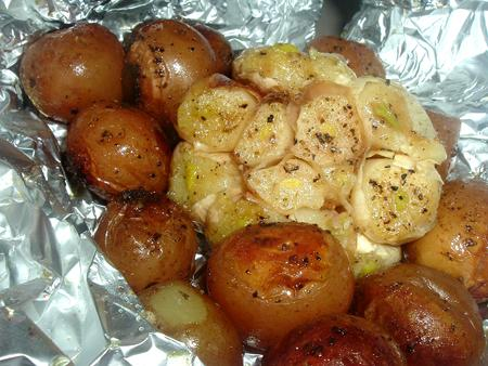 Roasted Garlic Heads and New Potatoes With Rosemary