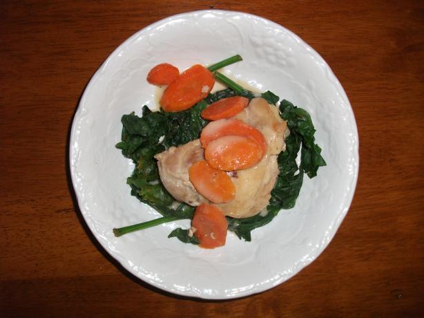 Braised Garlic Chicken and Spinach