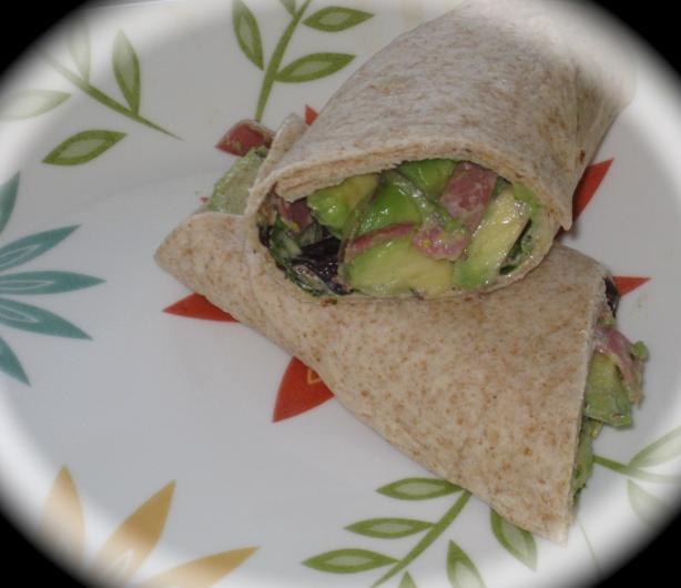Salami and Avocado Sandwich Wrap With Balsamic Mustard Spread