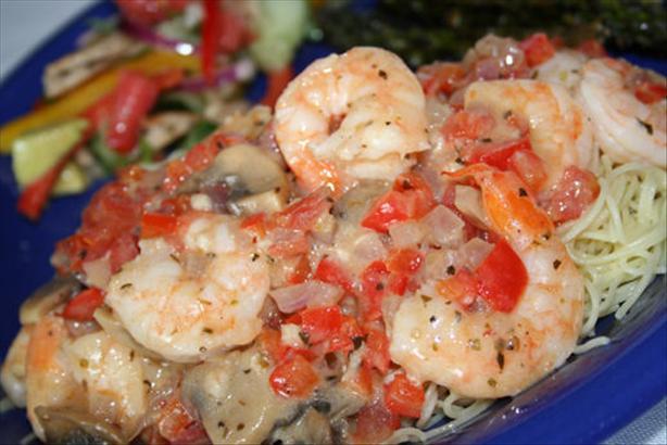 Shrimp and Veggies Italiano With Pasta