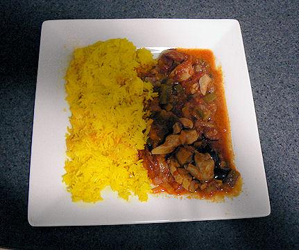 Pan Fried Chicken and Chorizo With Rice