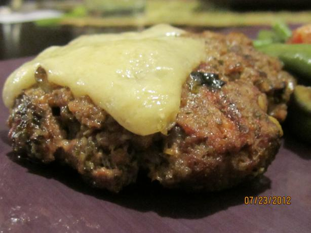 Barbecued Olive and Pesto Burgers