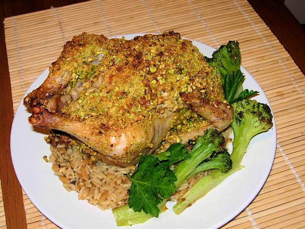 Pistachio Crusted Cornish Game Hens