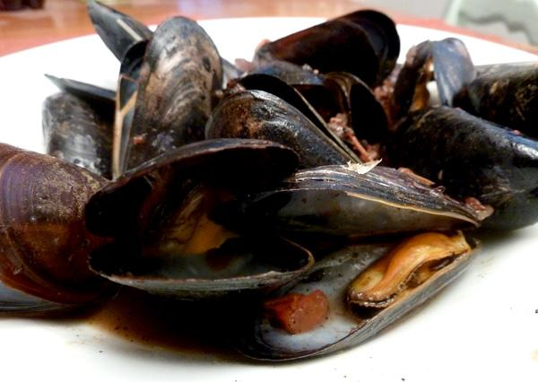 Grilled Mussels With Red Wine and Chorizo
