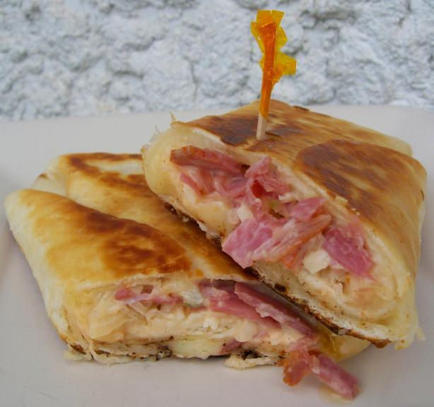 """Reuben """"sandwiches"""" in a Tortilla"""