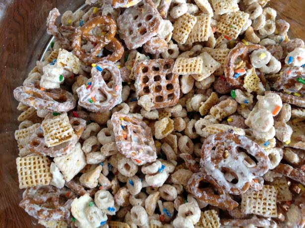 *Tink's White Chocolate, Honey-Nut, Birthday Party Chex Mix