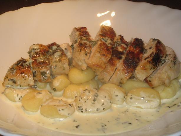 Creamy Herb and Garlic Chicken over Gnocchi