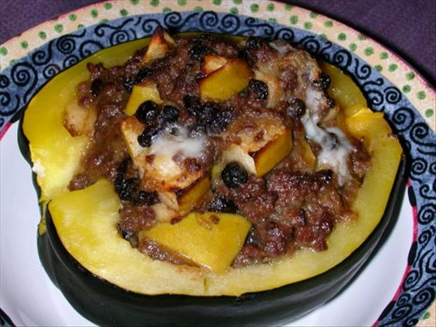 Ground Beef & Apple Filled Acorn Squash Halves
