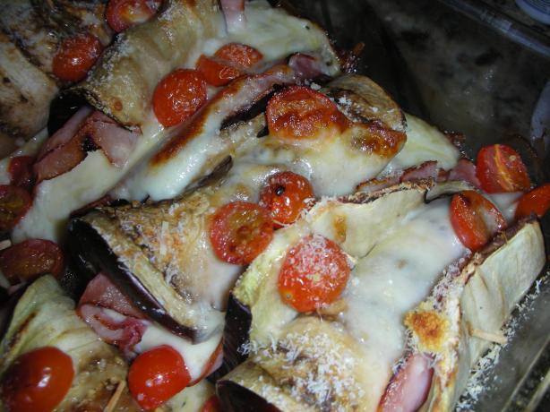 Easy Eggplant, Mozzarella & Ham Wraps
