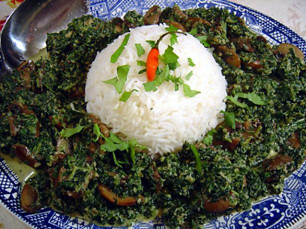 Saag Khumb (Spinach and Mushrooms)