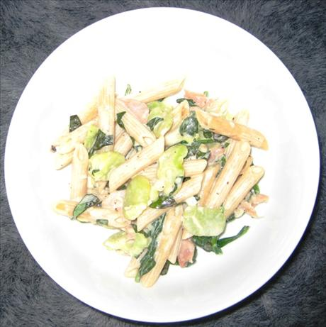Penne Rigate With Prosciutto, and Snow Peas in a Truffled Cream