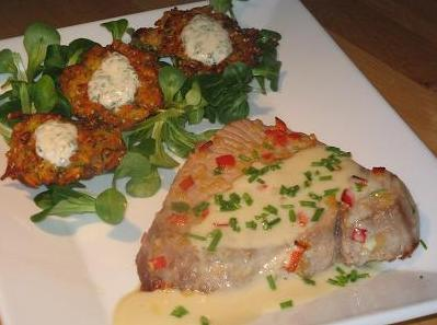 Ginger Tuna With a Wasabi Drizzle and Kumara Ginger Fritters