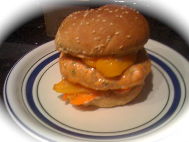 Salmon Burger With Roasted Sweet Peppers and Lemon Aioli Sauce.