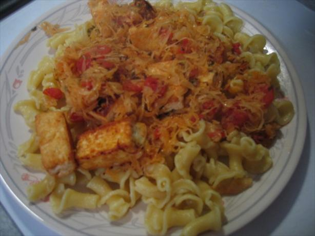 Vegan Sauerkraut and Tomato Pasta