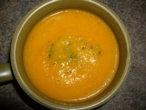 Carrot Soup With Basil Pesto Swirl
