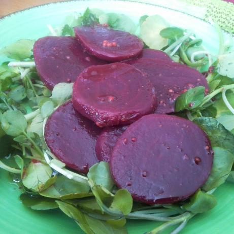 Colorful Beet Salad on Arugula With Sherry Vinaigrette