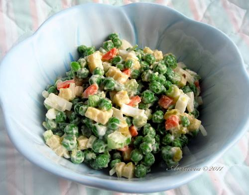 Easy Pea & Cheese Salad