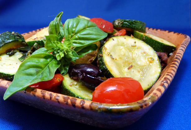 Sauteed Zucchini, Cherry Tomatoes, Olives and Basil