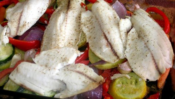 Oven Baked Cod with Roasted Vegetables