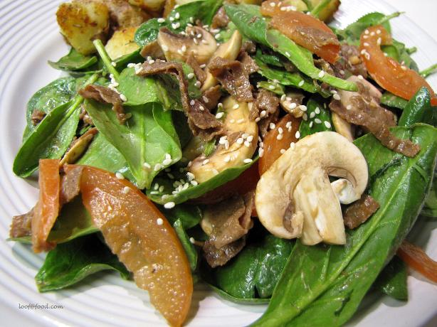 Steak Spinach Sesame Salad
