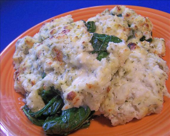 Broiled Spinach With Four Cheeses
