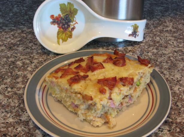 Bacon, Gruyère, and Ham Strata