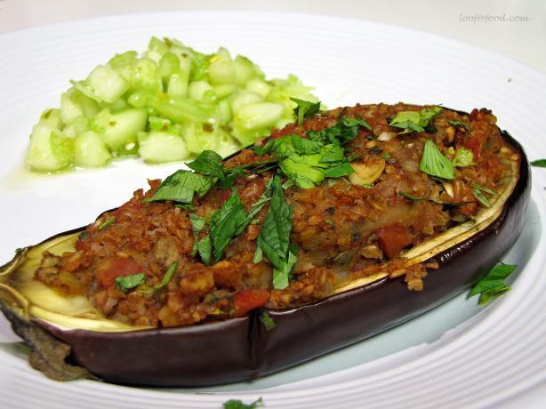 North African Bulgar Stuffed Baby Eggplant