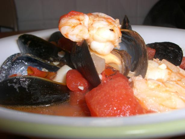 Seafood Trio With Fire Roasted Tomato Garlic Sauce