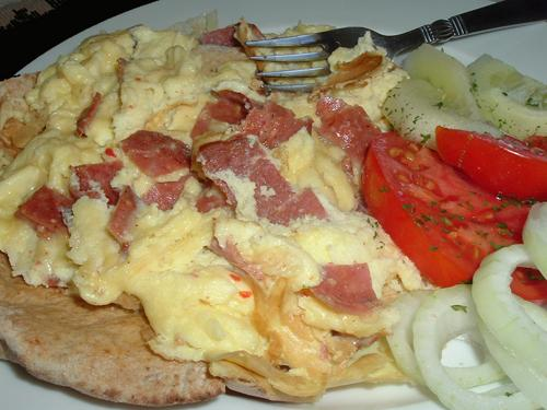 Scrambled Eggs and Fried Beef Salami