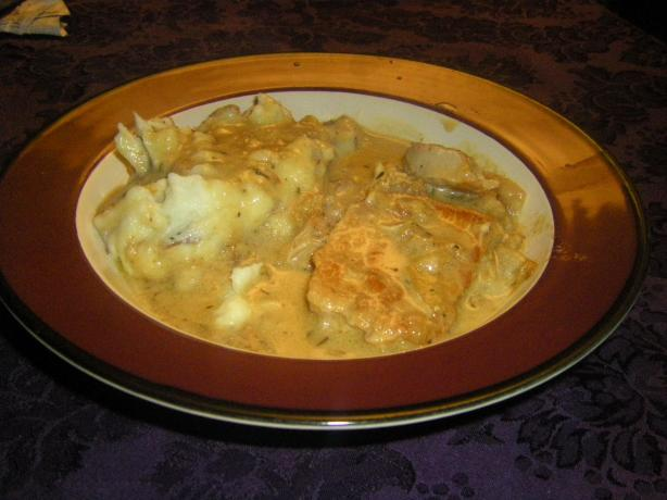 Creamy Dijon Pork Chops With Apples and Onions