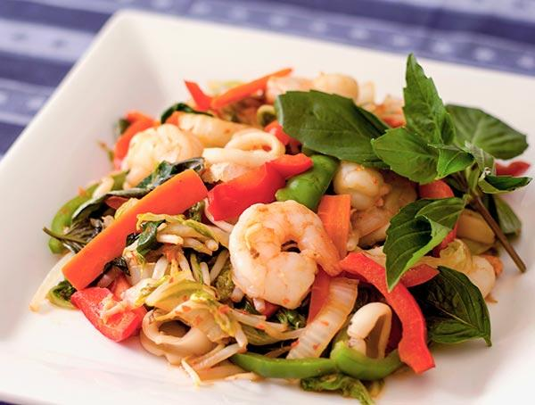 Seafood Hot Pepper Stir Fry With Thai Basil (Pudt Prig)