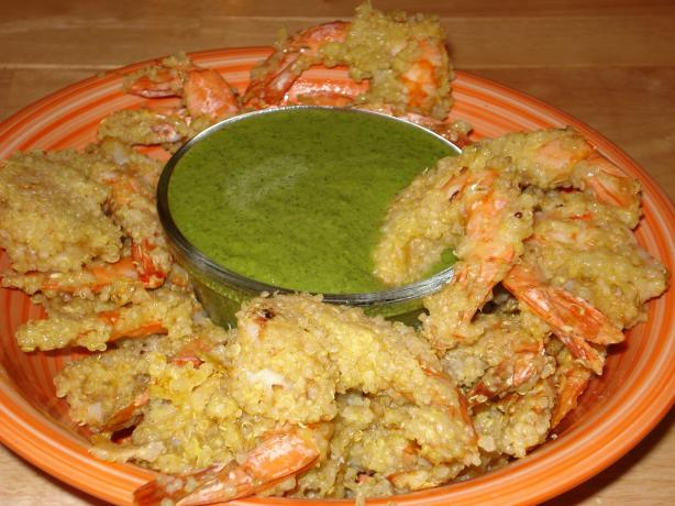 Peruvian Quinoa Shrimp Chicharrones With Green Aji Sauce