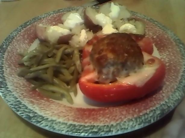 Meatloaf Stuffed Red Peppers