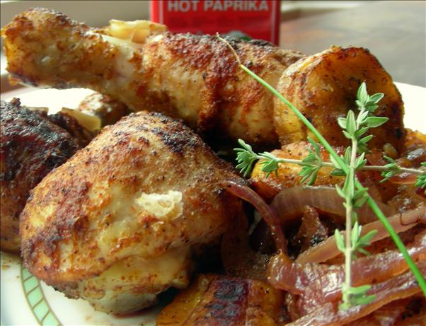 Roast Chicken With Plantains and Onions