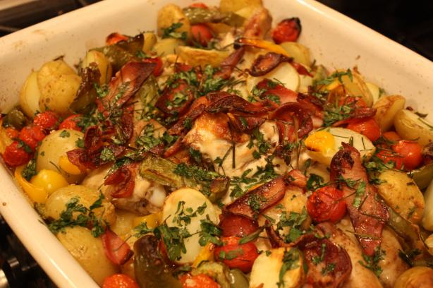 Roast Chicken With Potato, Capsicum and Tomato