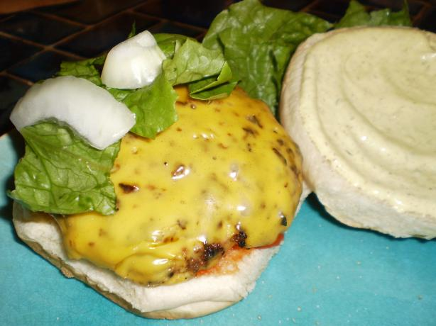 Smoky Beer Burgers With Creamy Mustard Sauce