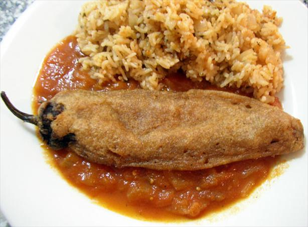 Chiles Rellenos in Tomato Broth