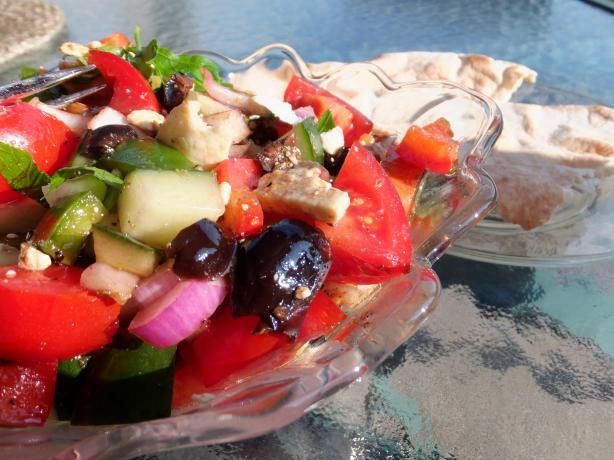 Greek Village Salad With Grilled Pita Bread