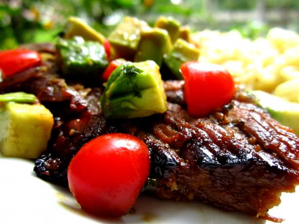 Honey-Lime Grilled Skirt Steak With Avocado-Tomato Relish