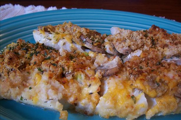 Cheesy Mushroom Baked Flounder