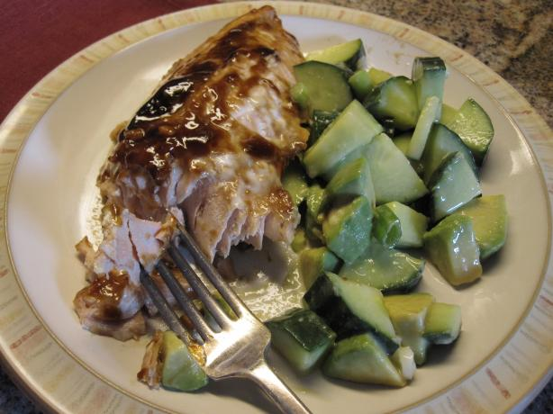 Soy Glazed Salmon With Cucumber Avocado Salad
