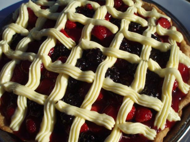 Triple Berry Cream Cake Pie