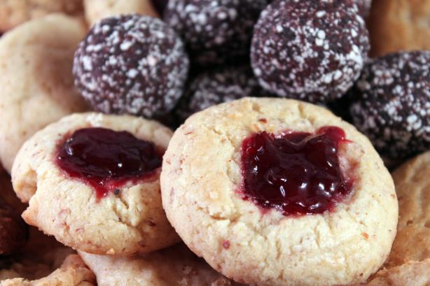 Pomegranate Jelly Almond Thumbprints