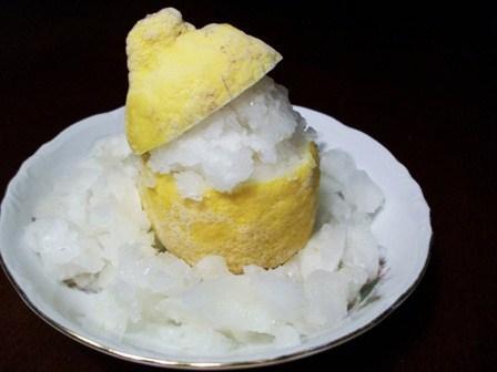 Lemon-Ginger Ice in Lemon Cups