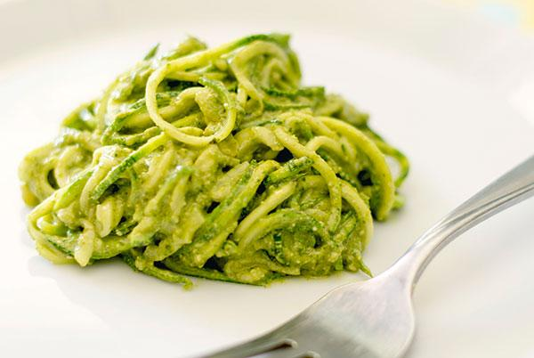 Zucchini Pasta With Cashew Pesto (Gluten-Free, Almost Raw)