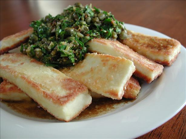 Fried Halloumi Cheese With Caper Vinaigrette