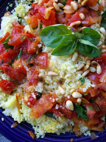 Israeli Couscous With Chunky Tomato Sauce