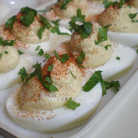 Guilt- and Yoke-Free Curried Deviled Eggs